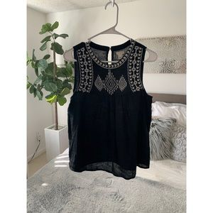 J crew linen embroidered tank top